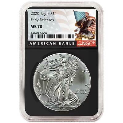 Купить 2020 $1 American Silver Eagle NGC MS70 Black ER Label Retro Core