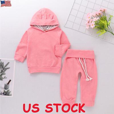 US Newborn Toddler Baby Girl Winter Outfits Plain Clothes Hoodie Tops+Pants Set (Toddler Girl Spring Clothes)