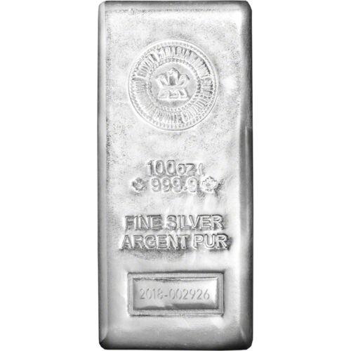 2018 100 oz. RCM Silver Bar - Royal Canadian Mint .9999 Fine