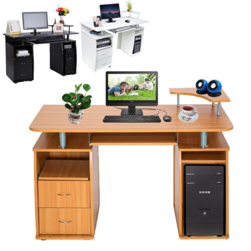 Computer Desk With Shelves Cupboard Drawer Home Office