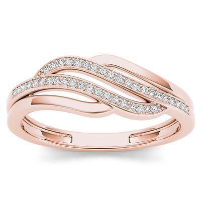 10k Rose Gold 0.10 Ct Diamond Swirl Fashion Ring Diamond Swirl Fashion Ring