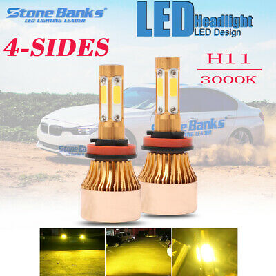 4-Side H11 LED Headlight H8 H9 Kits 110W 22000LM Bulbs Power 3000K Yellow (Best H1 Led Bulb)