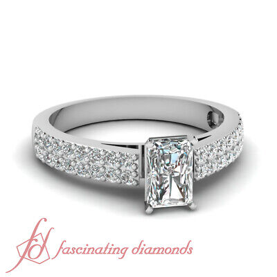 3/4 Ct Diamond Engagement Rings For Her  Pave Set With Radiant Cut In Center GIA