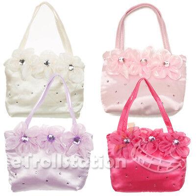 Girls Kids Little Lady Dress Up Handbag Evening Wedding Bag 3 Flower Crystals - Little Girl Dressed Up