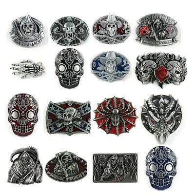 1PC Halloween Retro Western Men's Leather Belt Buckle Metal 16 Kinds of Pattern
