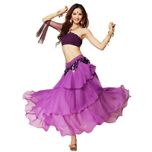 Chiffon-Dancing-Costume-Belly-Dance-Spiral-Long-3-Layers-Skirt-Top-Belt-8-Colors