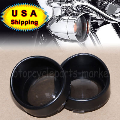 Black Visor-Style Turn Signal Bezels Trim Ring Smoked Lens Cover For Harley Part