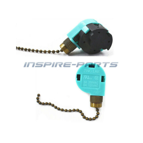 2 * ZE-268S6 & ZE-208S6 Pull Chain Switch For Zing Ear3 Speed Antique Brass