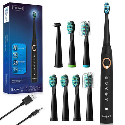 Fairywill Sonic Care Electric Toothbrush Extra Replacement Heads Rechargeable