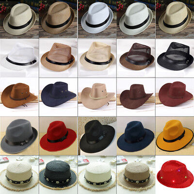 Women Men Braid Fedora Trilby Gangster Cap Summer Beach Sun Straw Panama Hat -