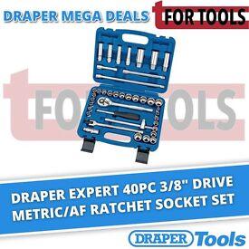 """Draper Expert 40pc 3/8"""" Drive Metric/AF Ratchet Socket Set Tool Kit 31058"""