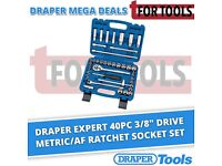 "Draper Expert 40pc 3/8"" Drive Metric/AF Ratchet Socket Set Tool Kit 31058"