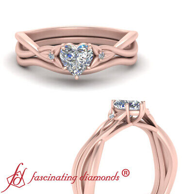 Half Carat Heart Shaped Diamond 3 Stone Engagement Ring And Matching Curved Band