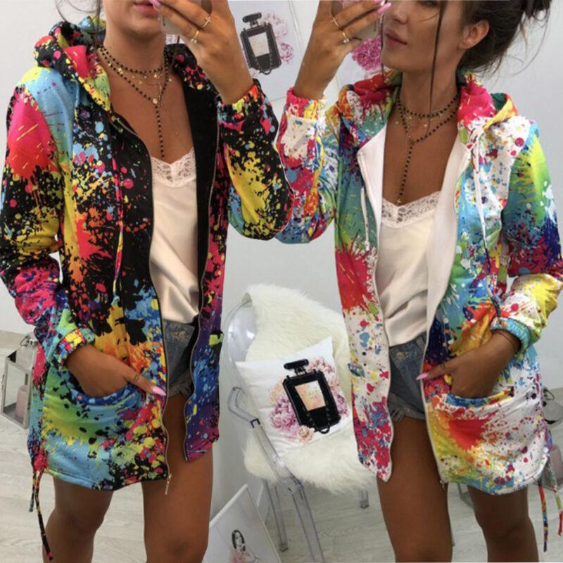 Womens Graffiti Watercolor Art tCoat Outwear Sweatshirt Hooded Jacket Overcoa