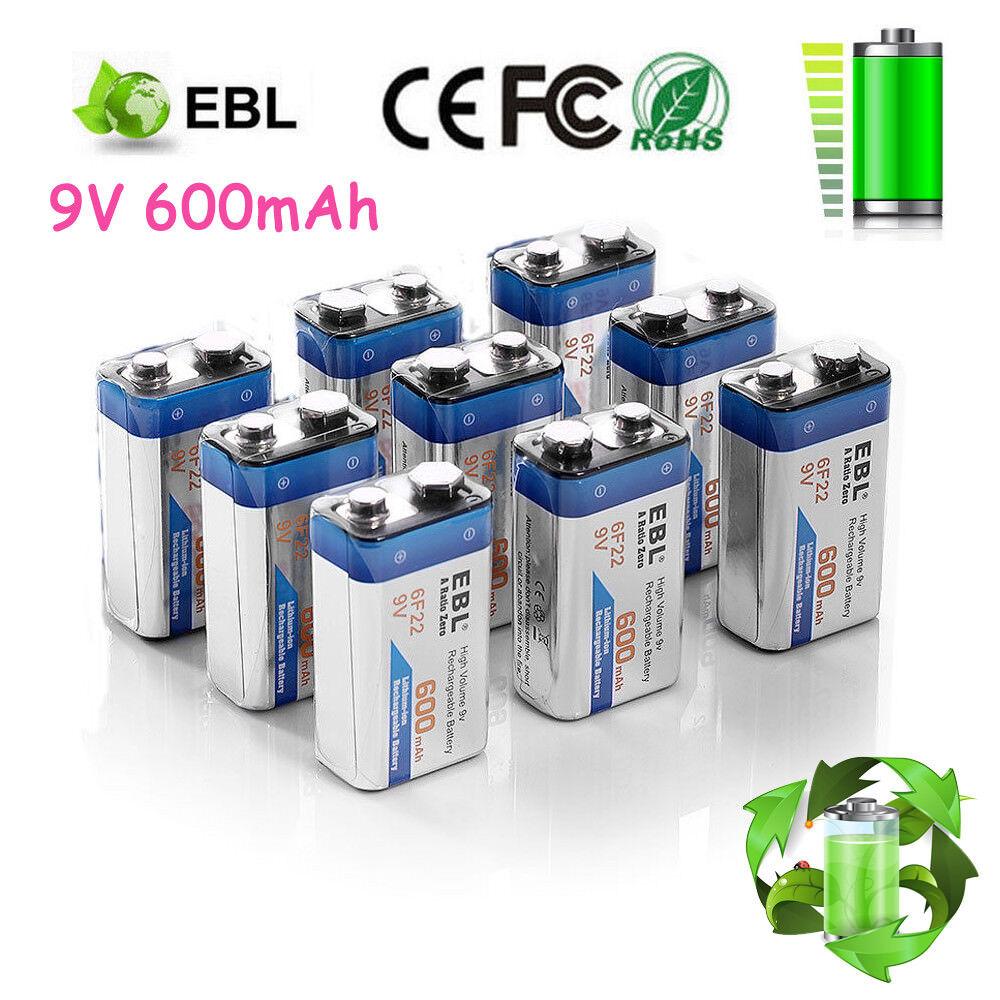 EBL 600mAh 9V 9 Volt 6F22 Li-ion Rechargeable Batteries Pack