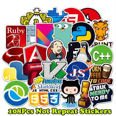 108x Developer, Programmer Stickers of Programming Languages and Internet Brands