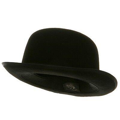 Mens Black Wool Felt Derby Hat with Black Band - Black Felt Derby Hat