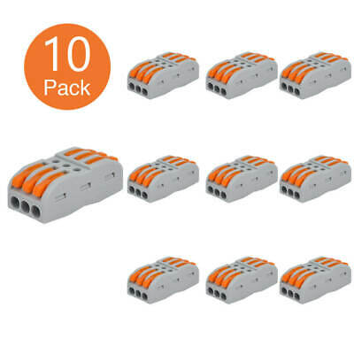 10pcs Spring Lever Terminal Block Electric Cable Wire Connector 3 Way Reusable