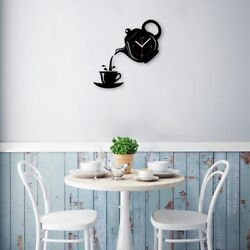 Black Wall Clock Coffee Cup Shaped Decorative Kitchen Wall Clock Living Room LN8