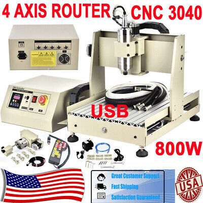 4 Axis Cnc 3040 Router 3d Engraver Pcb Wood Engraving Mill Drill Cutter Remote