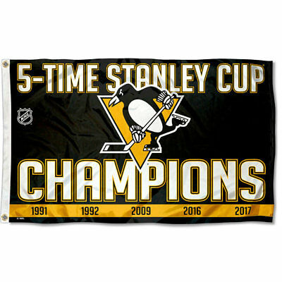 Pittsburgh Penguins 5 Time Stanley Cup Champions Flag Large