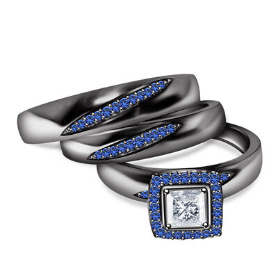 Blue Sapphire Trio Wedding Ring His And Hers Bridal Bands Set Black Gold