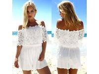 New Women Off Shoulder Lace Playsuit
