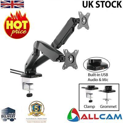 Allcam Gas Spring Desk Mount LCD Monitor Twin  Arms Stand w/ vesa bracket  Vesa Desk Mount