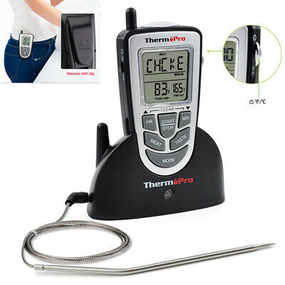 Wireless Remote Thermometer Probe BBQ Grill Meat Kitchen Oven Food Cooking -