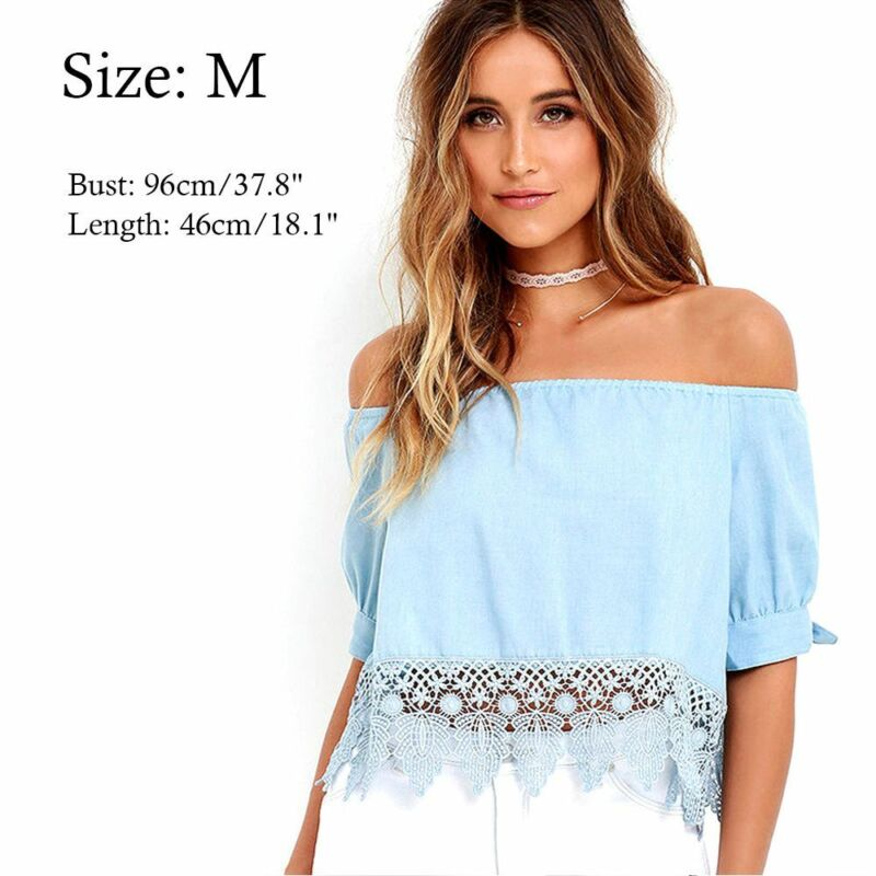 Women Ladies Fashion Summer Lace Off-shoulder Casual Blouses Crop Tops T-Shirt..
