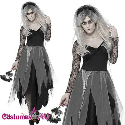 Ladies Zombie Graveyard Corpse Bride Costume Womens Horror Halloween Fancy Dress (Graveyard Bride Costume)