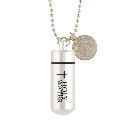 Aluminum Holy Water Bottle Vial Pendant Necklace With Saint St. Benedict Medal