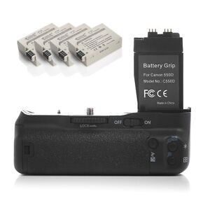 Battery Grip For Canon EOS 550D 600D BGE8 Rebel T2i T3i T4i T5i +4 LP-E8 Battery