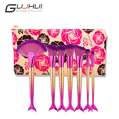 Women Fashion 7PCS Purple Yellow Wool Makeup Brush Mermaid Shape Bandle + Bag