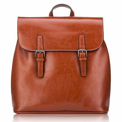 Women' s Genuine Leather Backpack Vintage Travelling School Satchel Bag Casual