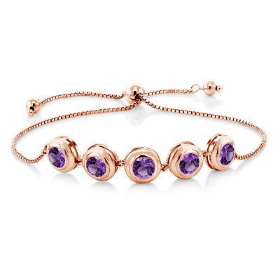 Amethyst Rose Gold Bracelet - 3.50 Ct Round Purple Amethyst 18K Rose Gold Plated Silver Bracelet