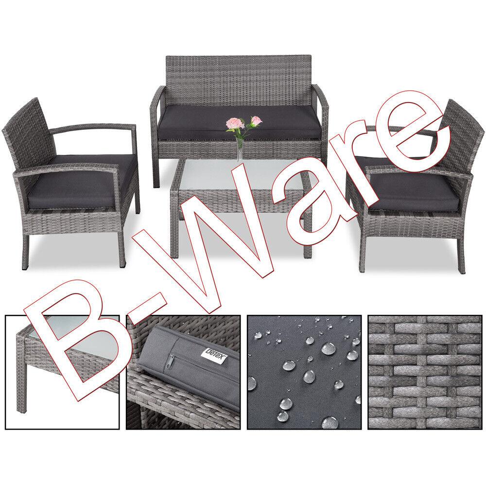 BWare Poly Rattan Lounge Set Sitzgruppe Balkon Gartenmöbel Tisch Balkonset Grau
