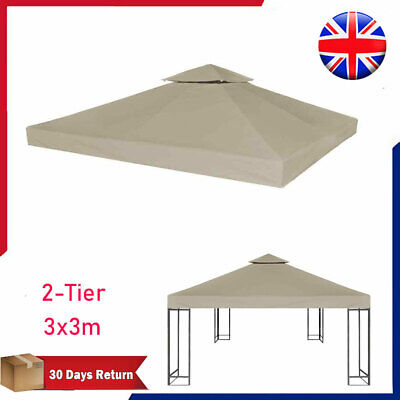 2-Tier Gazebo Top Cover 3x3m Waterproof Taupe Roof Replacement Tent Canopy