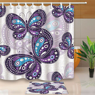 Purple Butterfly Bathroom Shower Curtain Waterproof Fabric w/12 Hooks 180*180cm - Butterfly Bathroom