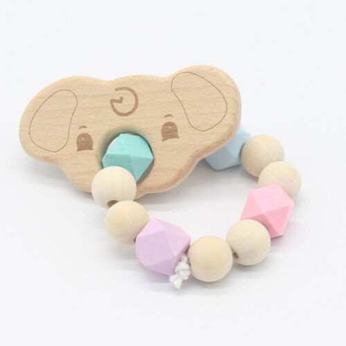 Wooden Natural Crochet Baby Infant Teether Teething Ring Bracelet Chew Toys QK