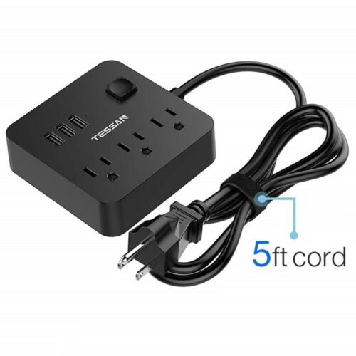 Portable Travel Power Strip with 3 Outlets 3 USB Charging Ports and  5 Ft Cord