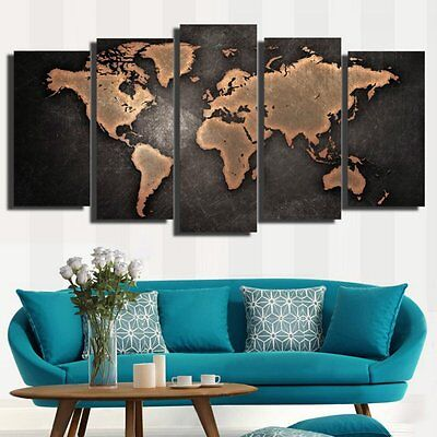 Modern Canvas Home Wall Decor Art Painting Picture Print World Map Unframed 5pcs