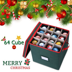 Christmas Ornament Storage Box Chest Cube Organizer with Dividers Holds 64 Balls