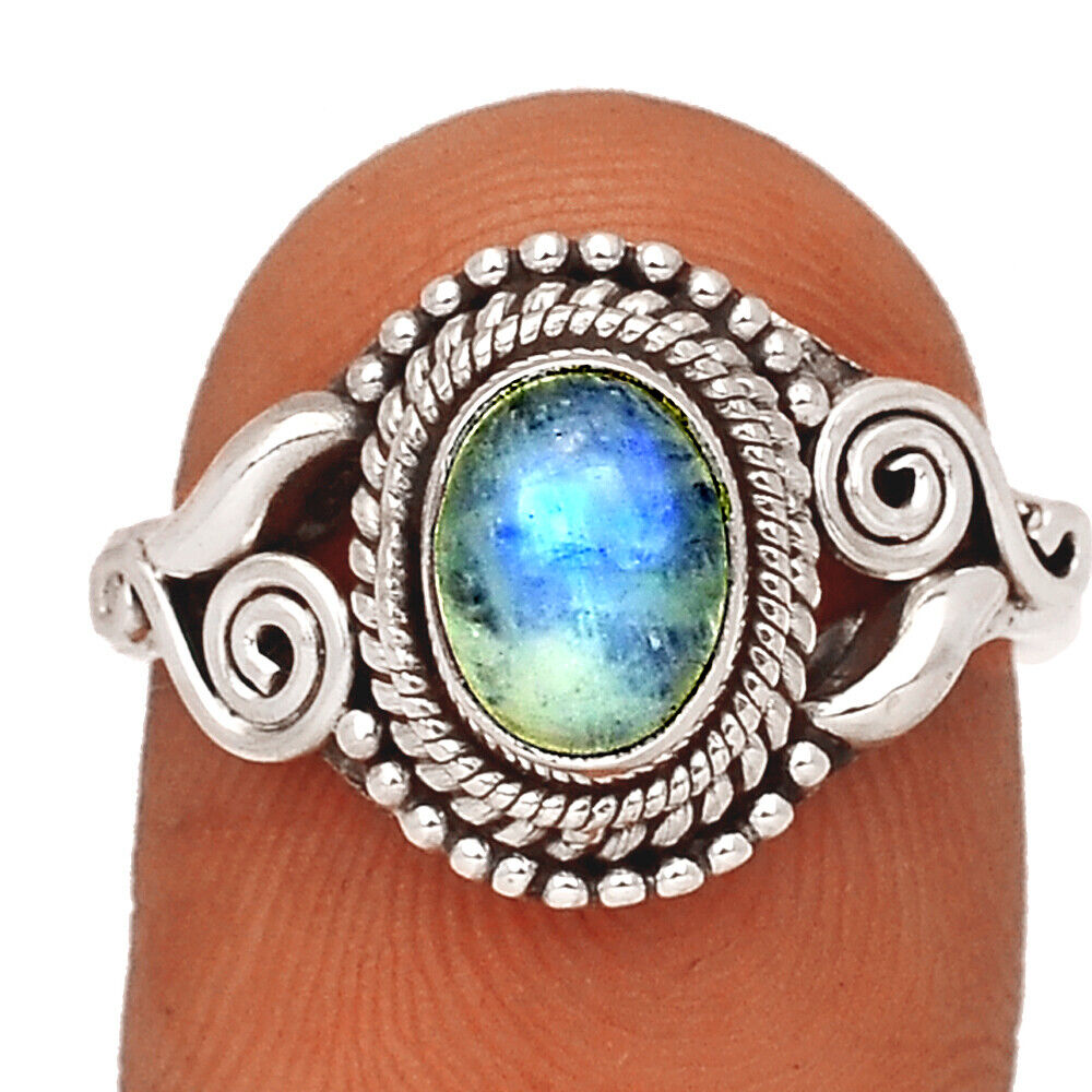 Moonstone - India 925 Sterling Silver Ring Jewelry S.8 BR40216 253F - $10.99