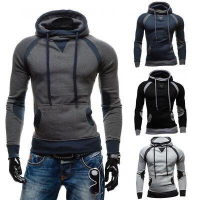 Men Winter Slim Hoodie Warm Pullover Sweatshirt Hooded Coat Outwear US -