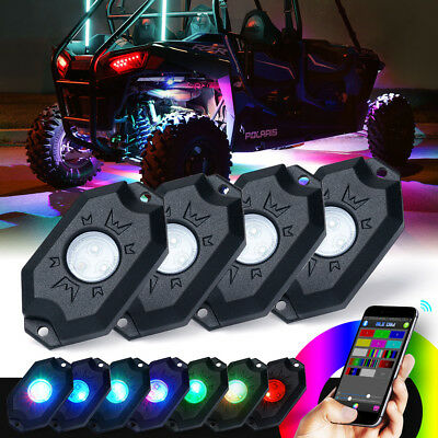 Xprite 4PC RGB Wireless Bluetooth LED Multi-Color Rock Lights for Offroad Truck