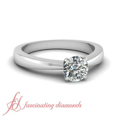 3/4 Carat Round Cut Diamond Tapered Style Solitaire White Gold Engagement Ring