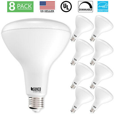 - SUNCO 8 PACK BR40 FLOOD LED LIGHT BULB 17W (100W) 1400 LUMEN 2700k SOFT DIMMABLE
