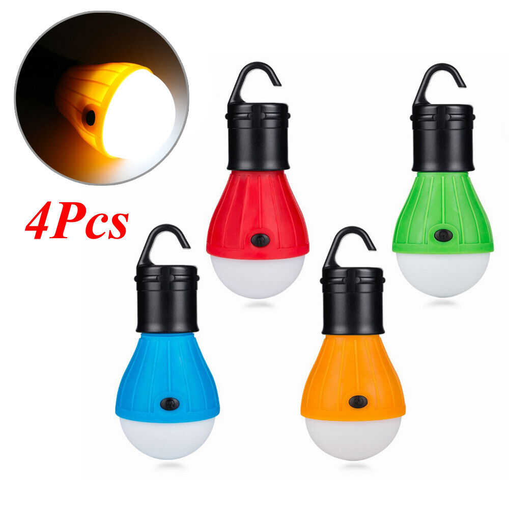 LED Camping Lantern Light Bulbs Clip Hook 4 Pack Portable Tent Hurricane Hiking Camping & Hiking