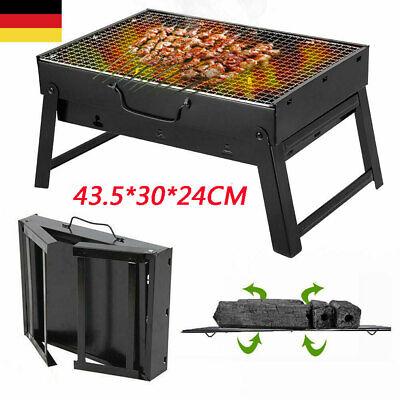 Holzkohle Schwarz Notebook (Edelstahl Faltbarer Notebook Grill BBQ Klappbarer Camping  Klappgrill Tragbarer)